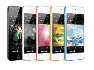 Illustration is of the iTouch in a variety of colours. Apple is expected to do the same with the iPhone 5S.