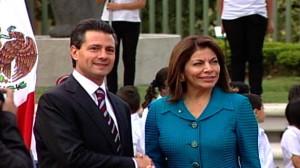 Presidents, Enrique Peña (left) and Laura Chinchilla.