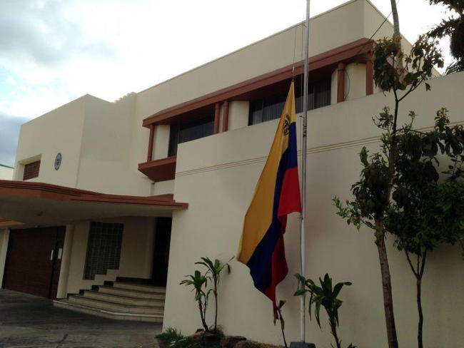 The flag at the Venezuela embassy in San José was flying at half mast after the announcement of Chavez's death.