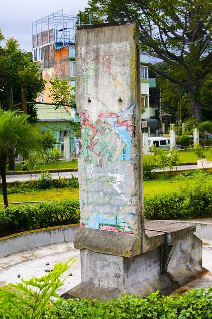 A piece of the Berlin Wall on the grounds of Casa Amarilla.