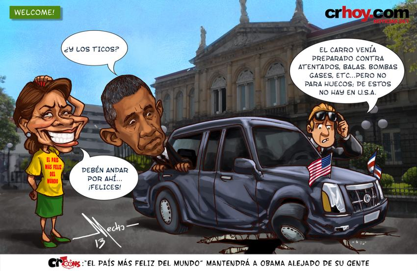 A caricature poking fun at Costa Rica's potholes during the official by U.S. President Barack Obama in 2012.