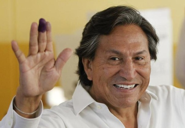In this 2011 file photo, Peru's then presidential candidate Alejandro Toledo gestures after casting his ballot in the general elections in Lima REUTERS/Enrique Castro-Mendivil