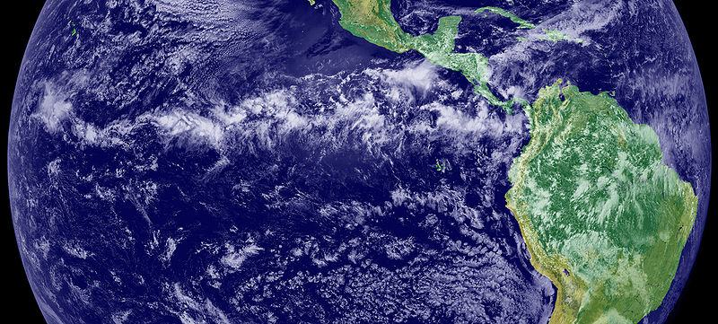 The thunderstorms of the Intertropical Convergence Zone form a line across the eastern Pacific Ocean.