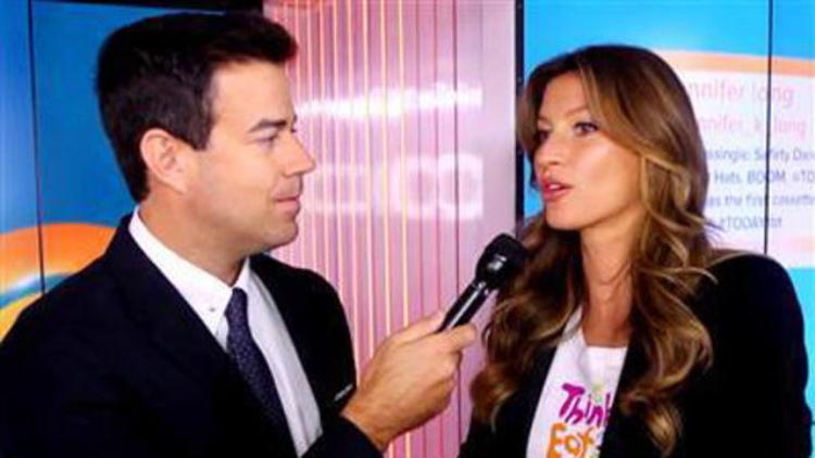 Supermodel and United Nations goodwill ambassadoe Gisele Bundchen talking to Carson Daily