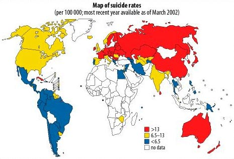 Map of International Suicide Rates