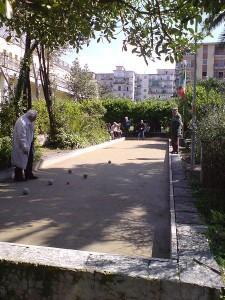 Italian men playing Bocce in San Giorgio a Cremano, Naples, Italy
