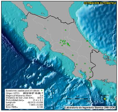 5.4 Quake Shakes Costa Rica Sunday Morning