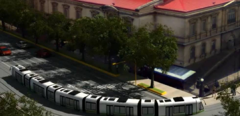 Mock up of the streetcar running through San José. Photo: Incofer