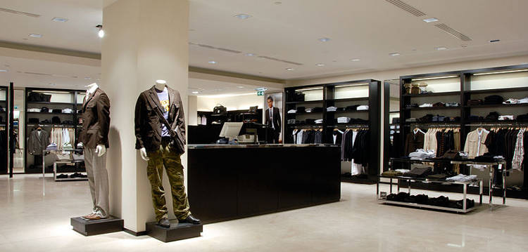 The men's department of a typical Zara store.