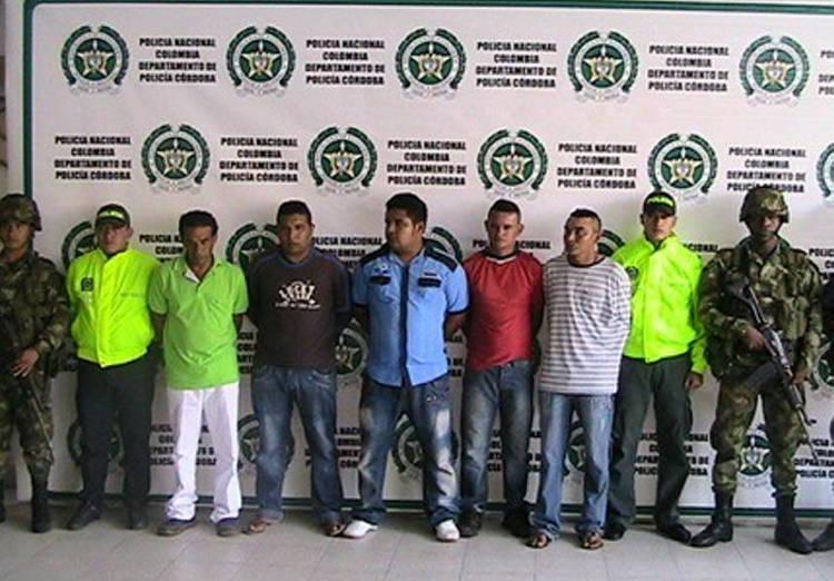 Members of the Los Urabeños gang captured in Córdoba, Colombia.