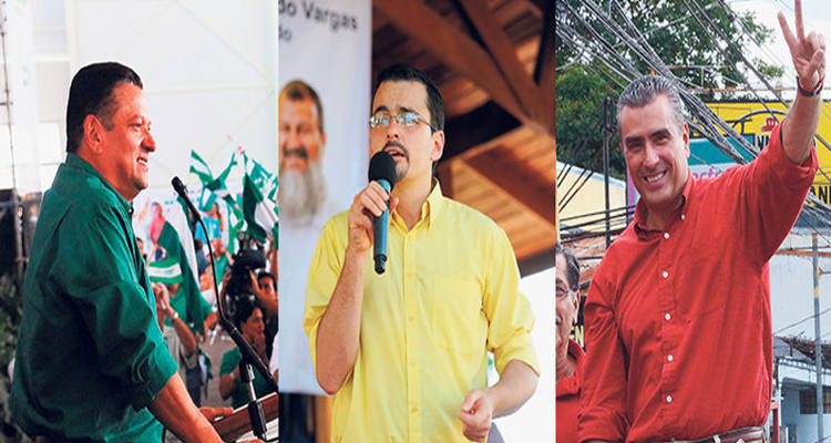 The frontrunners: Araya (left), Villalta (centre), and Guevara