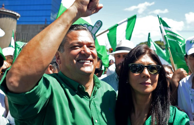 Johnny Araya, PLN candidate and his wife, Sandra León