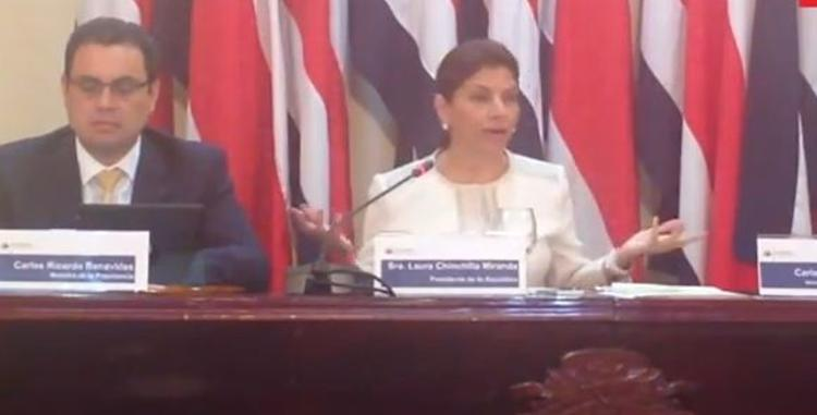 Presidenta Laura Chinchilla during Tuesday's press conference.
