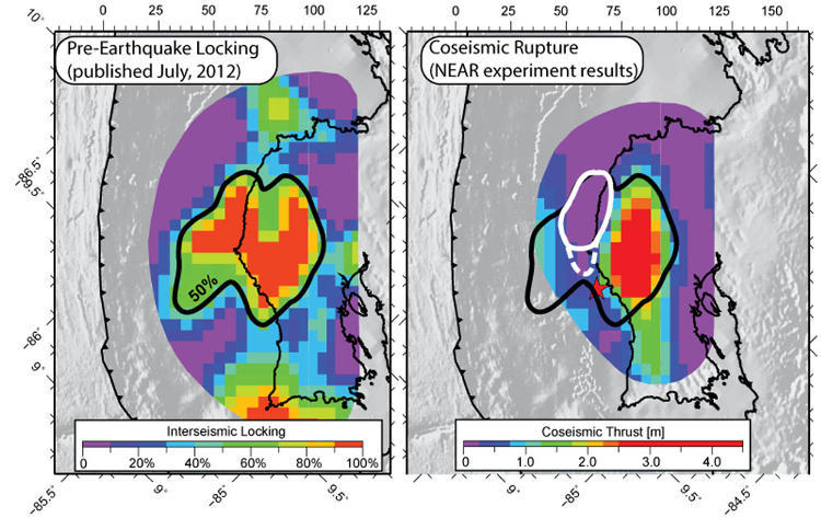 Comparison between the (left) pre-earthquake locking and (right) coseismic rupture during the magnitude 7.6 Nicoya Earthquake. The pre-earthquake locking was published in Feng et al. (JGR, 2012) just two months before the earthquake, and mapped the lateral and downdip extent of the area that ruptured during the September earthquake. A small area remained locked immediately after the earthquake, but may have released subsequently through aseismic afterslip. (Figure modified from Protti et al., 2014).