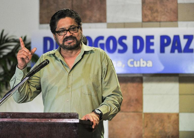 FARC-EP commander Ivan Marquez delivers a speech at the Convention Palace in Havana before a round of peace talks with the Colombian government, on February 5 , 2014 (AFP Photo/Yamil Lage )