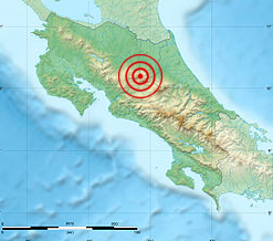 The 2009 Costa Rica earthquake (also known as Cinchona Earthquake), occurred at 1:21:34 pm local time (19:21:34 UTC) on January 8, 2009. The epicenter of the 6.1 Mw earthquake was in northern Costa Rica, 30 kilometres (19 mi) north-northwest of San José.[1] It was felt all over Costa Rica as well as in southern central Nicaragua.