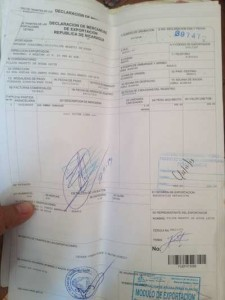One of the dozens of legal documents Filipe has had to obtain in order to cross a border with horses