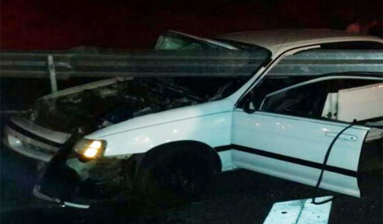 Driver and passenger survive the early morning accident where a guardrail impaled the vehicle