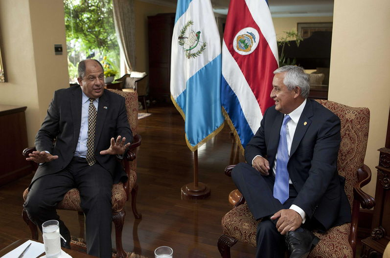 In Guatemala, in his first stop in the Central America tour, Solís with Guatemala's president, Otto Pérez.
