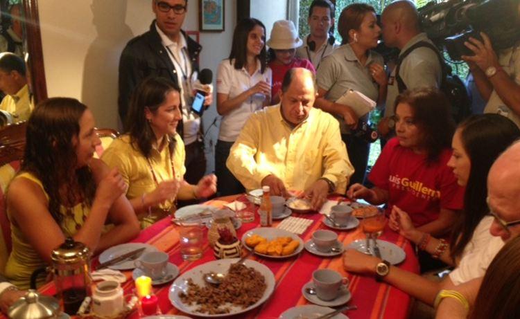 Solís having breakfast at home this morning. Photo  Mayela López, La Nacion