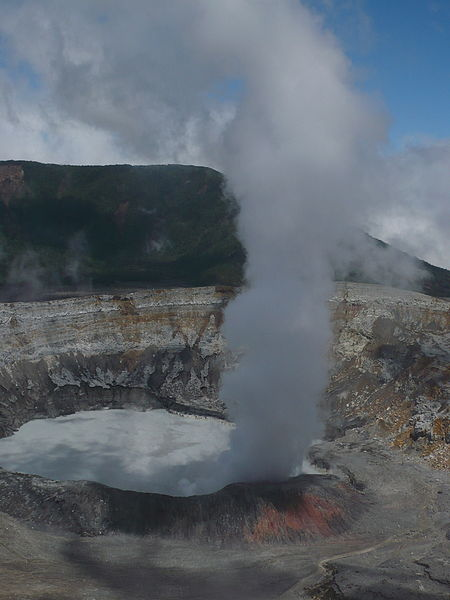 Column of smoke rising from the main crater.
