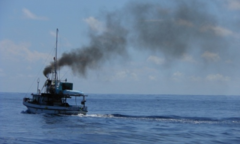 A long-liner boat flees the no-fishing zone around Cocos Island national park. Photograph: Damian Carrington