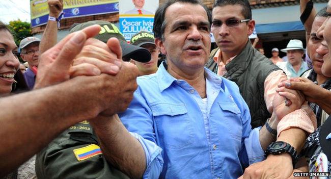 Former finance minister Oscar Ivan Zuluaga of ex-President Alvaro Uribe's right-wing party Democratic Centre.