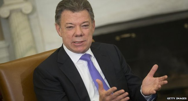 There has been a gentle slide in President Santos' popularity since December