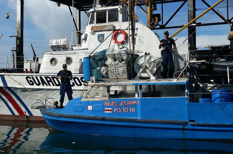 Boat seized by Costa Rica's Coast Guard, El Ángel del Mar II. Foto: Cortesía del Ministerio de Seguridad