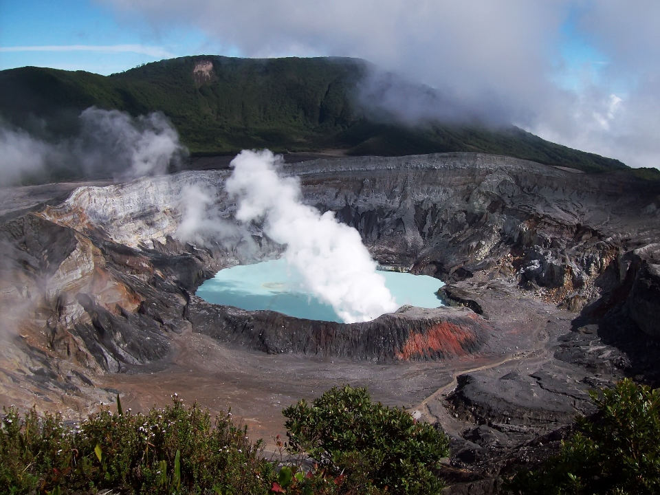 Poás volcano crater.