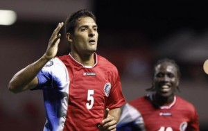 Costa Rica's Borges celebrates a goal near his teammte Cameron during their UNCAF Central American Cup soccer match against Nicaragua, in San Jose