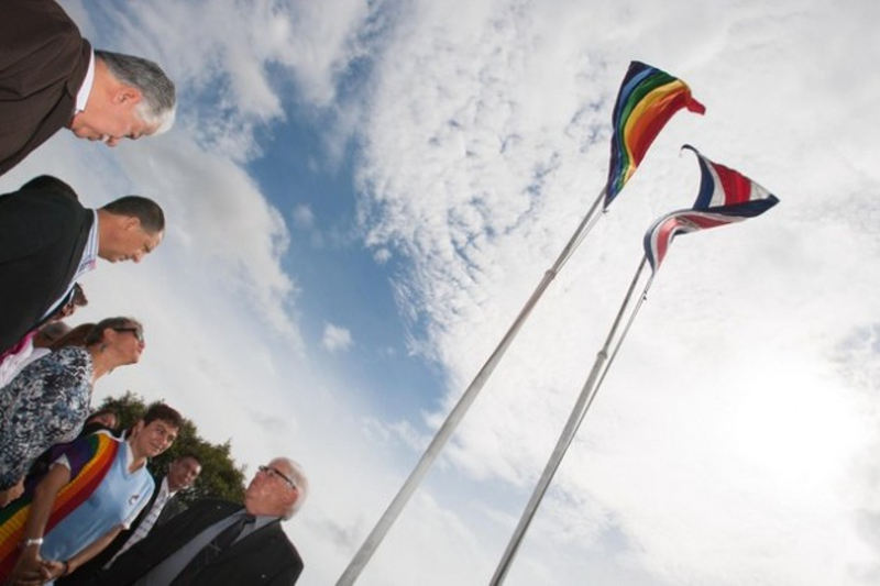to commemorate the International Day Against Homophobia and Transphobia. Participants included President Luis Guillermo Solís, second from the top, and activist Marco Castillo, bottom. Credit: Roberto Carlos Sánchez/Presidencia de Costa Rica