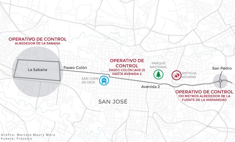 Traffic control points for San José in effect Friday, June 20