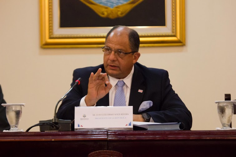 President Solís bans his name on public works and his photo hung in public offices.