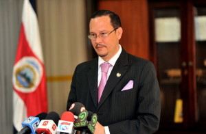 Security Minister Celso Gamboa during a press conference Friday.