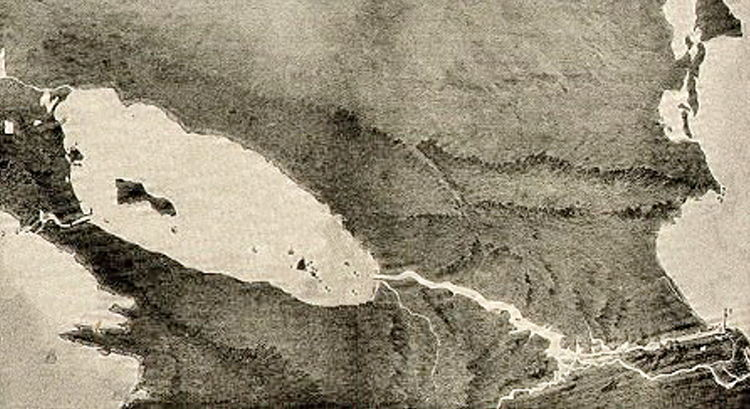 The idea of constructing a manmade waterway through Central America is old. The colonial administration of New Spain conducted preliminary surveys. The routes suggested usually ran across Nicaragua, Panama, or the Isthmus of Tehuantepec in Mexico.   Proposed canal, circa 1899.