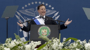 Panama's President Juan Carlos Varela delivers his speech after his swearing in ceremony as new president in Panama City, Tuesday, July 1, 2014.