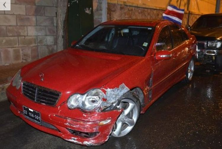 Official embassy vehicle, driven by the ambassador, after the accident.
