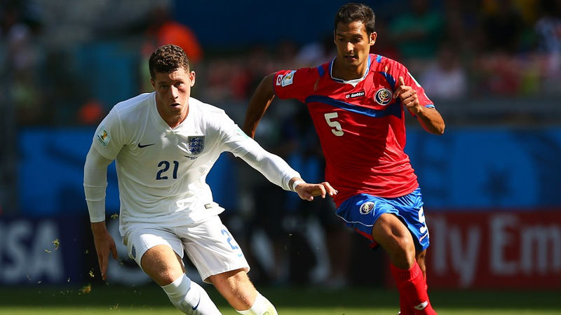 Ross Barkley of England controls the ball against Celso Borges of Costa Rica, during World Cup play in Brazil. Photo: FIFA.com