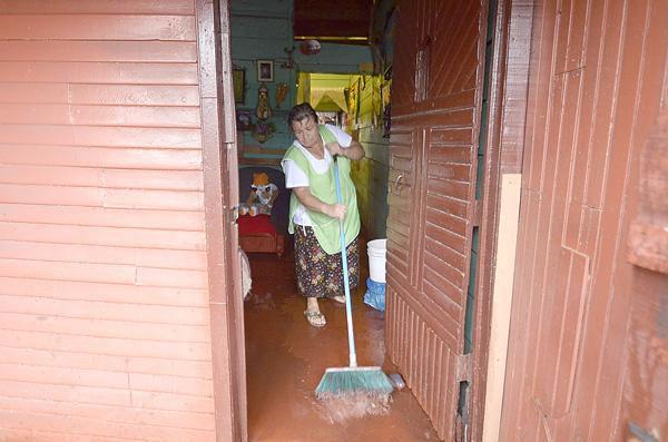A good broom is indinspesible during the rainy season.
