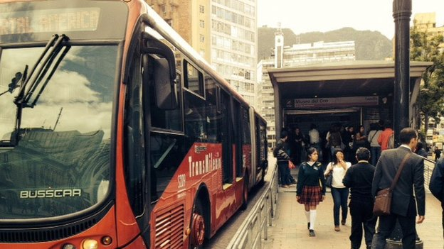Transmilenio buses transport an average of two million people per day