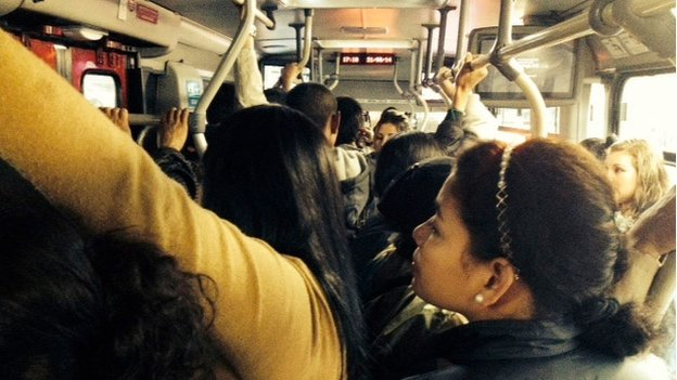 Transmilenio buses are often overcrowded making it easy for gropers to sidle up to their victims