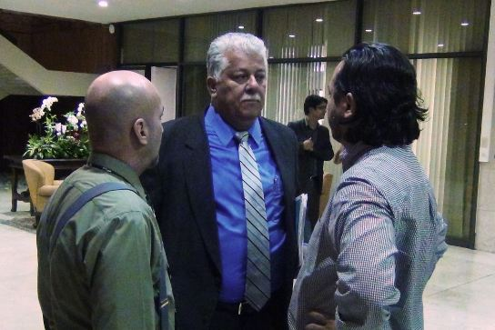 Iván Barrantes, (right) is seen here at Casa Presidencial with Mariano Figueres (left) and  Melvin Jiménez. (Centre)