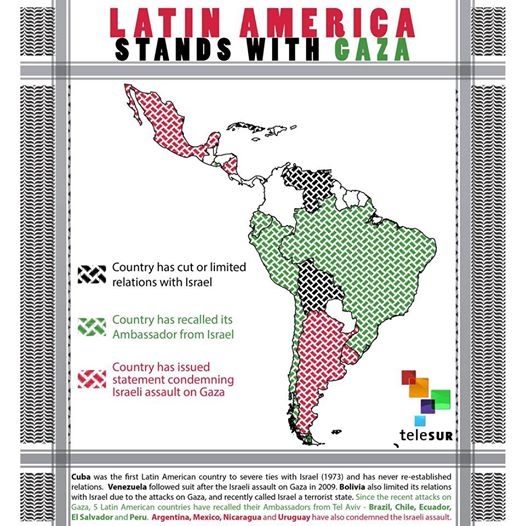 Map of Latin America with few countries coloured white (indicating that their governments have not openly expressed solidarity with Palestine). Credit: Telesur