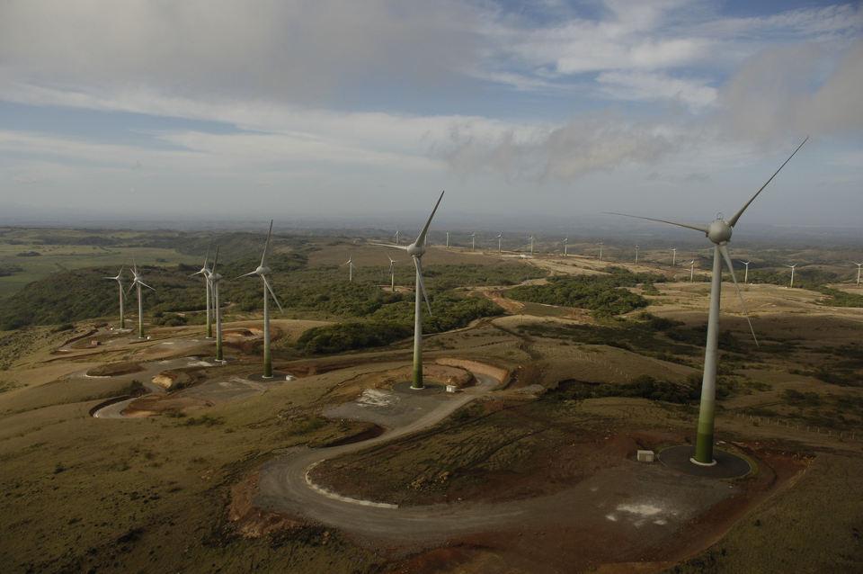 Aerial photo of the Guanacaste wind farm. Photo: Juwi.com