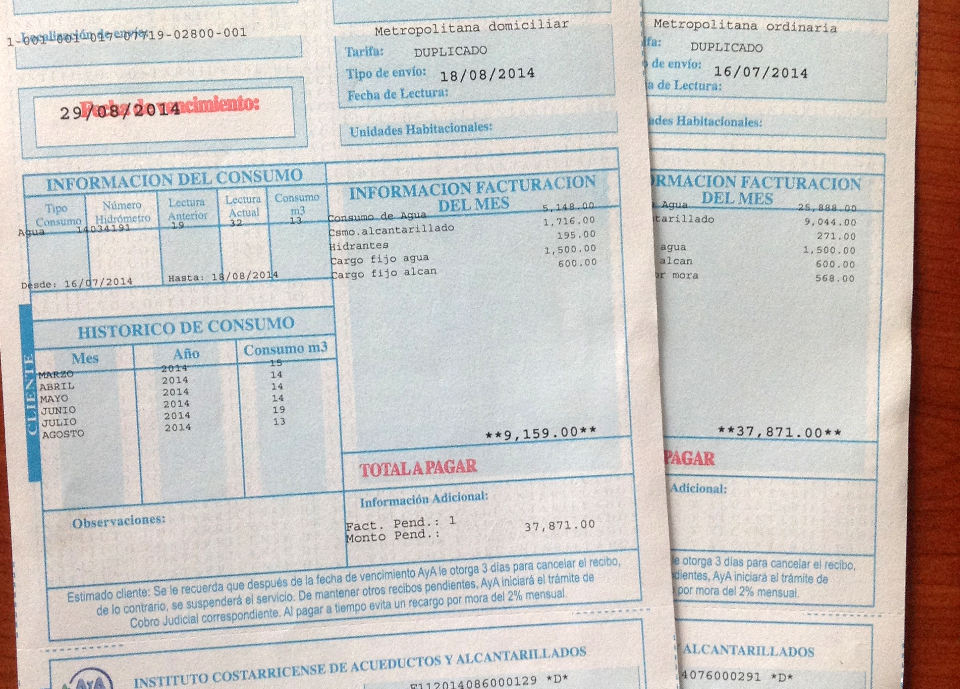 This month's bill (left) and last month's (right)