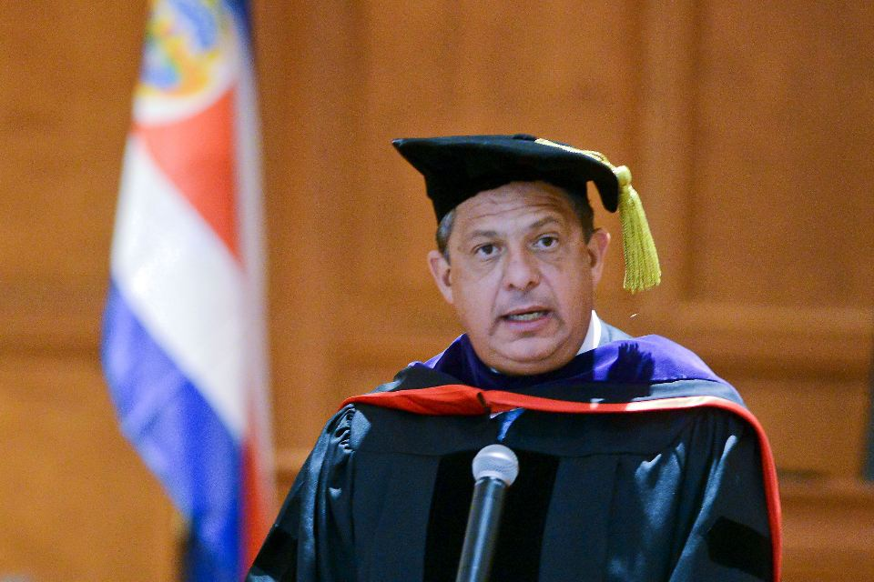 Luis Guillermo Solis, president of Costa Rica, addresses the audience after receiving an honorary degree in a special ceremony at Duquesne.