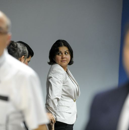 Guevara being led out of the courtroom headed for jail. Photo: Luis Navarro