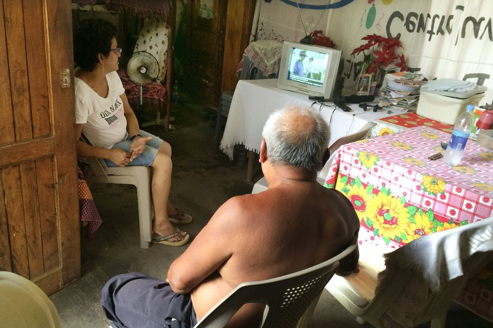 hristina Ulloas and a neighbor tune in daily to the noontime speeches of Rosario Murillo, President Daniel Ortega's wife and the government's spokeswoman. Murillo's speeches mix new-age spirituality, her love of Mother Nature and a sprinkling of Catholicism. Photo, Carrie Kahn/NPR