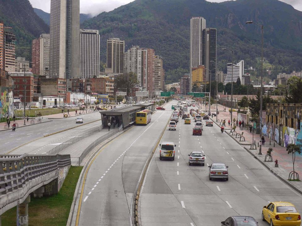 Bogota's Calle 26 without buses.